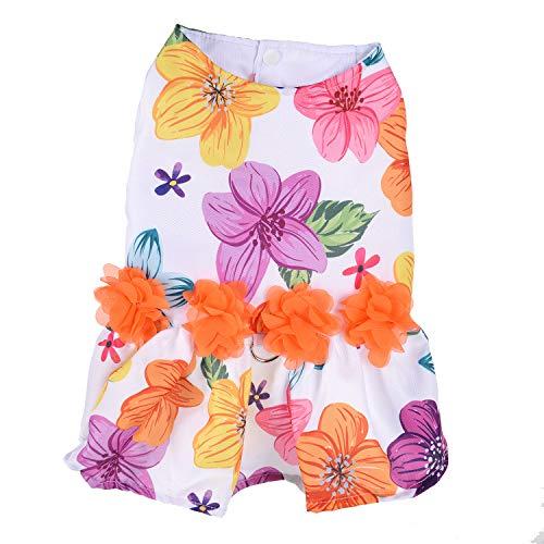 RC GearPro Floral hondenserviesjurk huisdier D-ring vest hemden zomerjurk voor kleine middelgrote honden, Large, multicolor