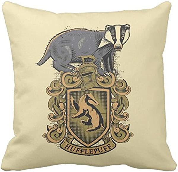 Bling Bling Harry Potter Hufflepuff Crest With Badger Throw Pillowcase Sofa And Car Pillow Cover