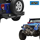EAG Fit for 07-18 Jeep JK Wrangler Front Bumper with Fog Light hole and Rear Bumper with 2' Hitch Receiver Combo