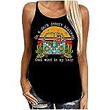 Women Tops Sunflower Flag Hotel California Lyrics Print T Shirt Summer Casual Sleeveless Crewneck Loose Tunic Tee Blouse
