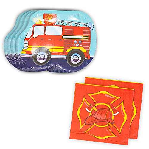 Fire Truck Shaped Plate & Napkin Sets (70+ Pieces for 32 Guests!), Firefighter Tableware Sets, Birthday Decorations