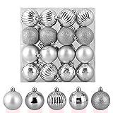 Zogin Adornos de Adornos navideños Bolas de árbol de Navidad inastillables Decoraciones Bola Colgante para decoración de Navidad (Plata, 32piezas-40mm)