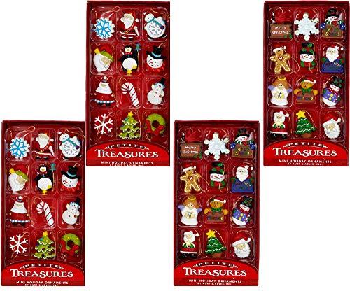 Kurt Adler Petite Treasures 12-Piece Miniature Ornaments Set, (4 Pack)