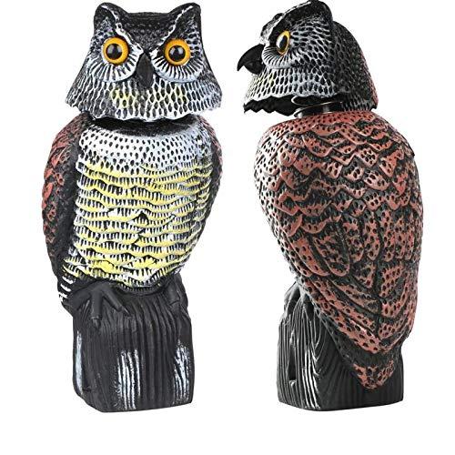 LANGING - Búho con cabeza giratoria para espantar palomas, protección de jardín,...