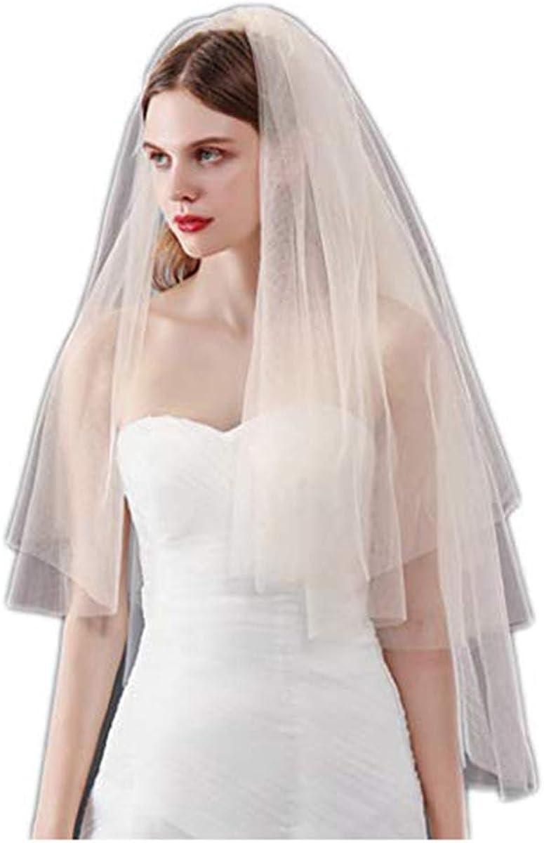 CanB Wedding Veil Fingertip Bride Veil Cut Edge Waist Length Bridal Hair Accessories with Comb 2 Tier for Women Girls