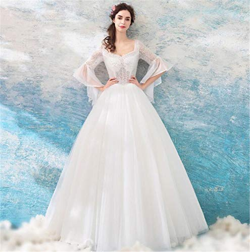 LYJFSZ-7 Hochzeitskleid,Weiße Prinzessin Style, Rundes Langärmliges Partykleid, Brautkleid No. 07477