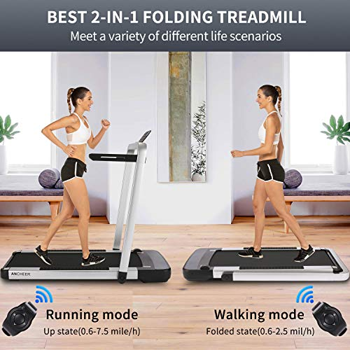 Product Image 2: ANCHEER Home Treadmill,2.25HP 2 in 1 Folding Treadmill,Under Desk Electric Treadmill with APP, Remote Control and LED Display, Jogging Walking Exercise Fitness Machine for Family & Office Workout