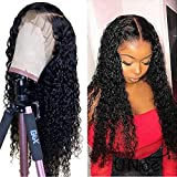 Human Hair Lace Front Wigs Brazilian Curly Wig For Women 130% Density 13X4 Lace Frontal Wig Preplucked Bleached Knots Wet And Wavy Human Hair Natural Hairline With Baby Hair 1B 20 Inch