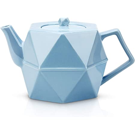 Toptier Ceramic Teapot, Porcelain Tea Pots with Stainless Steel Infuser, Blooming & Loose Leaf Teapots, 34 Ounce (1000 ml) - Blue Diamond