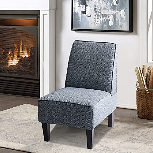 Alunaune Modern Accent Fabric Slipper Chair Single Sofa Comfy Upholstered Armless Accent Chairs Small Couch for Bedroom-Blue