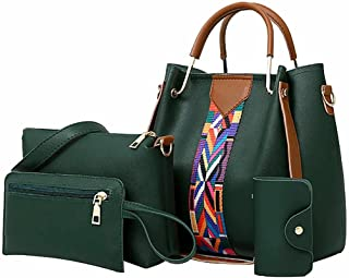 Brandsho - Women PU Leather Shoulder Bags and Handbags Tote Bag Set of 4 for Shopping and Travel