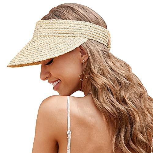 Straw Hats for Women, Visor Hats for Women Beach Hats for Women Sun Hat Womens Straw Hat Made of Natural Raffia