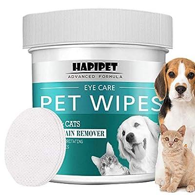 HAPIPET 150 Pads Pet Eye Wipes,Eye Tear Stain R...
