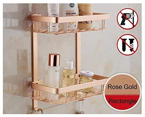 Estantería de aluminio para baño, 2 estantes, adhesiva, con ganchos, accesorios de baño, aluminio, oro rosa, rectángulo