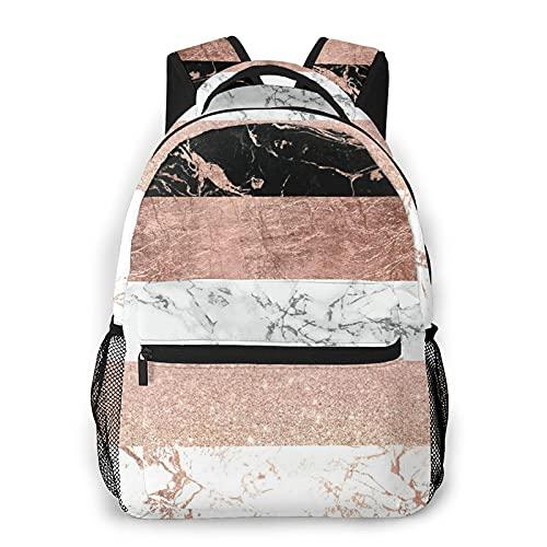 EURmermaid Mochila para portátil de viaje,me gusta el ejercicio Mochila moderna y elegante con diseño de rayas de mármol en oro rosa,resistente al agua,antirrobo,delgada,duradera