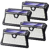 Reayos Luz Solar Exterior, 283 LED 3 Modos Focos LED Exterior Solarescon Sensor de Movimiento 180 °Iluminación IP65 Impermeable para Jardín 4-Paquete