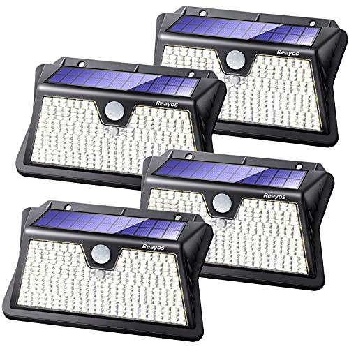 Reayos 283 LED Luce Solare LED Esterno, Lampade Solari a LED da Esterno con Sensore di Movimento IP65 Impermeabile Faretto LED da Esterno Solare per Giardino, Parete Wireless Risparmio Energetico