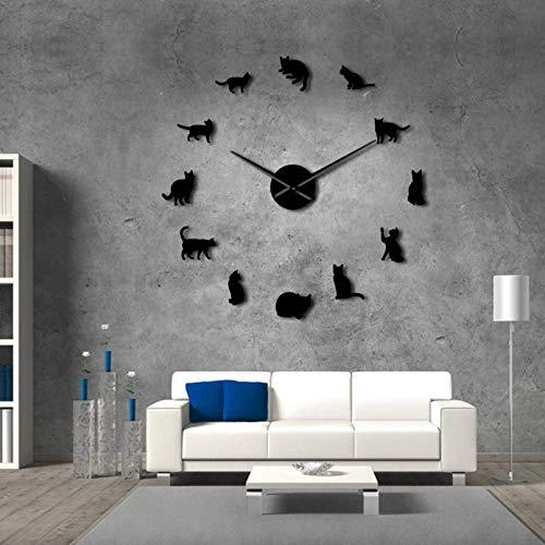 YQMJLF Reloj Pared DIY 3D Grande Silueta Gatos Gatitos sin Marco DIY Reloj de Pared Gigante Gatos juguetones Aguja Grande Habitación de niña Reloj de Pared Grande Gatos Fans Regalo Negro