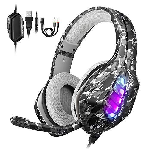 REDSTORM PS4 Gaming-Headset, Xbox Headset mit Mikrofon und Einstellbarer Rauschunterdrückung, LED-Lampe, Bass-Stereo, für Switch/Xbox One/PS4/PC/Tablet/Smartphone