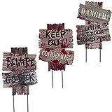 Joycabin Halloween Gartenschild Dekoration, Warnung Straßenschild mit Einsätzen, Halloween Wegweiser aus Karton Friedhofsdekoration Requisiten, für Outdoor Spukhaus Rasen Yard Dekoration(3 Stück)