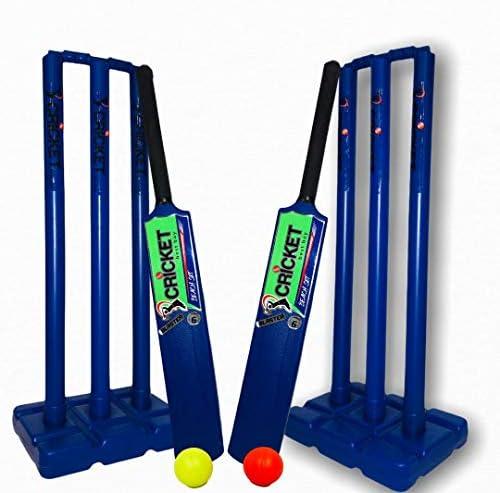 Cricket Plastic Set Blue Double Sided for Kids Adult Size 4 5 6 2 Bats 2 Stumps Bag Balls Size product image