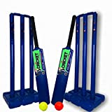 Cricket Plastic Set Blue Double Sided for Kids & Adult Size 4, 5 & 6, 2 Bats, 2 Stumps, Bag & Balls (Size 6)