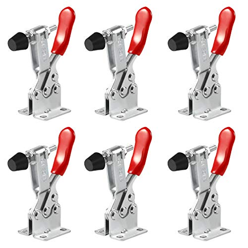 Anndason 6 PCS Hand Tool Toggle Latch Clamp 201B,220 Lbs Holding Capacity Horizontal Clamp Horizontal Quick Release Toggle Clamp (6 PCS 201B)