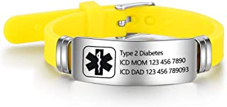 Free Engraving 9 Inches Silicone Adjustable Medical Bracelets Sport Emergency ID Bracelets For Men Women Kids Waterproof Stainless Steel Rubber Alert Bracelets