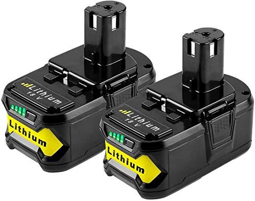 VANON - Batería de repuesto para Ryobi ONE (2 unidades, 18 V, 4,0 Ah, incluye herramientas, RB18L40, RB18L50, RB18L25, RB18L13, P108, P107, P122, P104, P105, P102, P103)