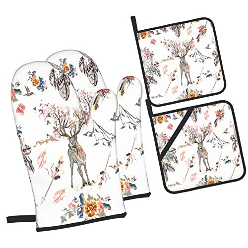 YOLIKA Boho With Arrows And Dream Catchers,4Pcs Oven Mitts and Pot Holders Sets,High Heat Resistant Kitchen Oven Gloves with Non-Slip Hot Pads for Cooking,Baking,Grilling