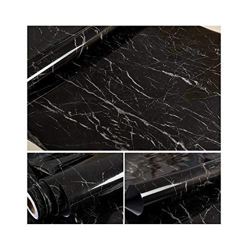 Grueso impermeable patrón de mármol pegatinas cocina aceite gabinetes encimera muebles renovación papel pintado autoadhesivo papel tapiz negro 60x500CM(23.6in X 197in)