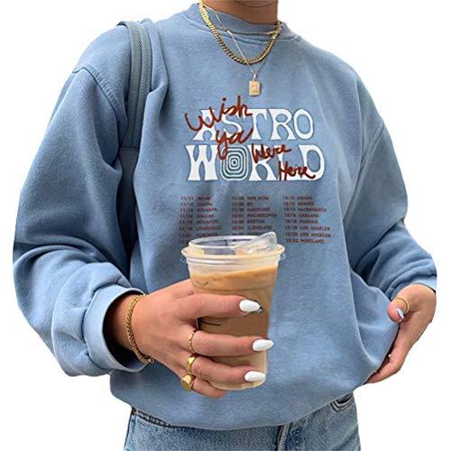 Shownicer Sweatshirts Damen Lange Ärmel Pullover Winter Mit Rundhalsausschnitt Vintage Streetwear Oversized Bunter Cartoons Mädchen Sportbekleidung Top 03 Blau L