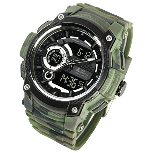 Lad-Weather Ana-Digi-Stopwatch Triple-Time Countdown-Timer-Alarm Camouflage-Combat-Watch (Green)