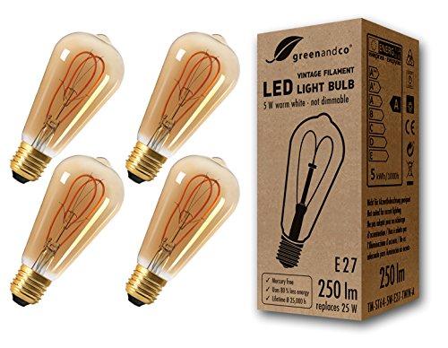 4x greenandco® Vintage Glühfaden LED Lampe ersetzt 25W E27 ST64 5W 250lm 2000K extra warmweiß 360° 230V flimmerfrei, nicht dimmbar, 2 Jahre Garantie