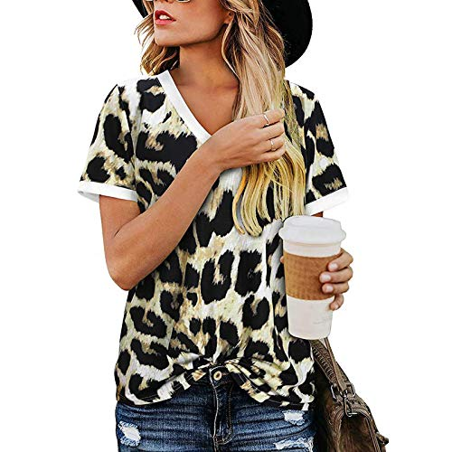 Damen Sommer Tshirt Leopard Sweatshirt Kurz Oberteile Tops T Shirt Lose Shirt Blumen Drucken Lose V-Ausschnitt Tshirt Bluse Top Langarmshirts Frühjahr Sommer T-Shirt Vintage Loose Oversize Shirt