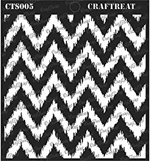 CrafTreat Stencil - Ikat Chevron - Reusable Painting Template for Journal, Notebook, Home Decor, Crafting, DIY Albums, Scrapbook and Printing on Paper, Floor, Wall, Tile, Fabric, Wood 6x6 inches