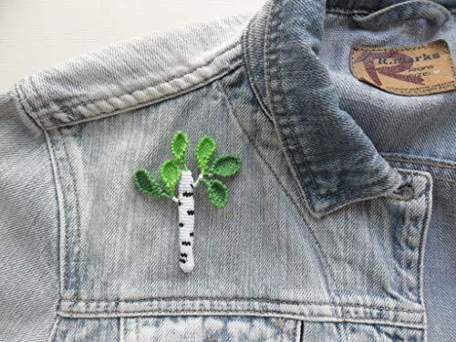 broche boho arbol con hojas verdes, broche abedul de ganchillo