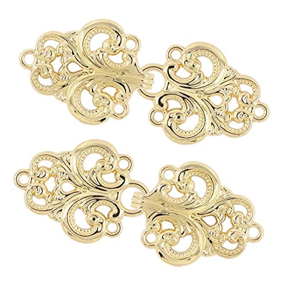 Bezelry 4 Pairs Swirl Flower Cape or Cloak Clasp Fasteners. 65mm x 28mm Fastened. Sew On Hooks and Eyes Cardigan Clip (Shiny Gold)