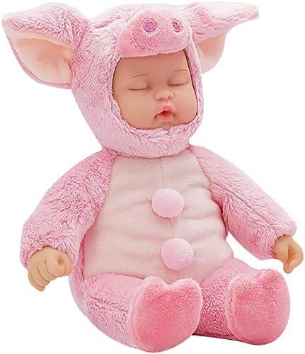JFXBox Kuscheln Stoffpuppen, Simulation Puppe Baby Kinder Niedlich SchWeiß Puppe PlüSchtier Geburtstagsgeschenk Niedlich,11cm×9cm×21cm,grau