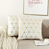 NordECO HOME Pack of 2 Throw Pillow Covers Cases - Square Decorative Cushion Covers for Sofa Couch Bed Home Decoration, 18 x 18, White