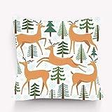 Decoración Throw Pillow Cojín, Impresión de Arte Moderno, Cute Deer Set Reno Árbol Invierno Bosque withtree