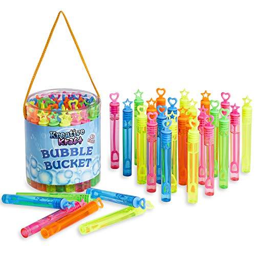 KreativeKraft Seifenblasen Kinder, Outdoor Spielzeug für Garten Hochzeit, 40er Stuck Party Set, Mitgebsel Kindergeburtstag Bubble mit 5ml Seifenblasen Nachfüllflasche, Geschenke für Kinder