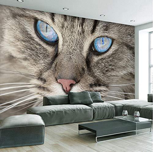 Fotobehang stickers grijze kat, dier 3D vlies muurschildering voor slaapkamer woonkamer keuken muurkunst decoratie 400x280cm