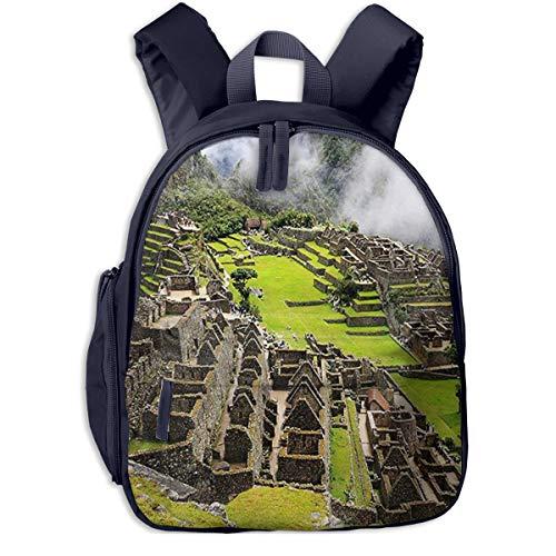Mochila para Niños Machu Picchu, Mochila Escuela Primaria de Edad Peso Ligero Pérdida Mochila de Viaje para Chico Chica