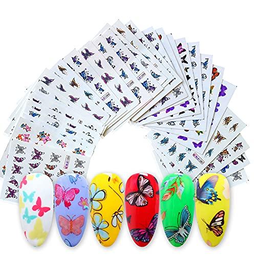 Anself 30 Feuilles 3D Papillons Autocollant à Ongles Motifs de Papillons Couleur Assortie Décalcomanies à Ongles Auto-adhésifs DIY Nail Art Décoration pour Femmes