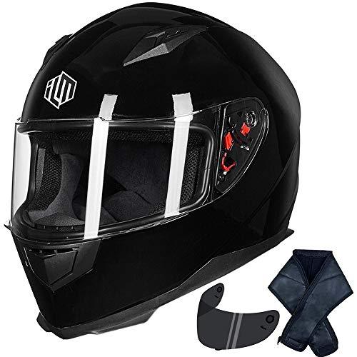 ILM Full Face Motorcycle Street Bike Helmet with Removable Winter Neck Scarf + 2 Visors DOT (XL, Gloss Black)