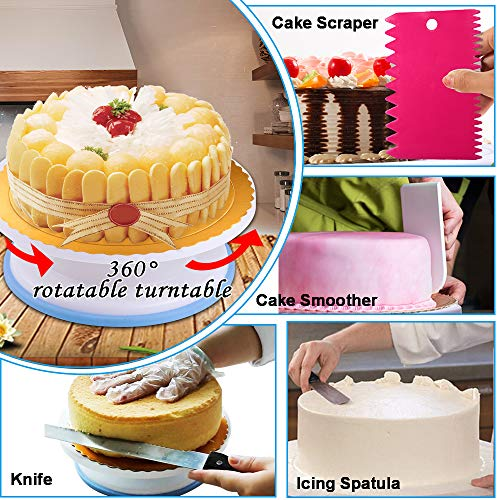 Cake Decorating Supplies 2020 Upgrade 276 PCS Baking Set with Springform Cake Pans Set,Cake Rotating Turntable,Cake Decorating Kits, Muffin Cup Mold, Cake Baking Supplies for Beginners and Cake Lovers