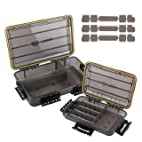 RUNCL Fishing Tackle Box, Waterproof Storage 14' L x 8.65' W x 2.15' H / 10.65' L x 7.1' W x 1.89' H - Thicker Frame, 360° Waterproof Seal, Secure-Locking Latches, Sun Protection (Pack of 2)
