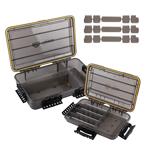 RUNCL Fishing Tackle Box Waterproof, Tackle Storage Organizer with Removable Dividers, Sun Protection Function, Thicker Frame with Secure-Locking Latches Lure Box for Freshwater Saltwater(Pack of 2)