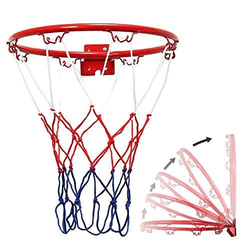 Stater - Juego de aro de baloncesto y red para colgar en la pared, metal para exteriores, mini aro de baloncesto con anillo y red, portería portátil para deportes en interiores y exteriores (diámetro 32 cm)